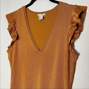 H & M Gold V-Neck Top